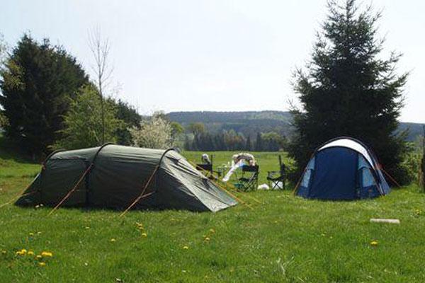 Zeltplatz auf dem Feld für Zelte